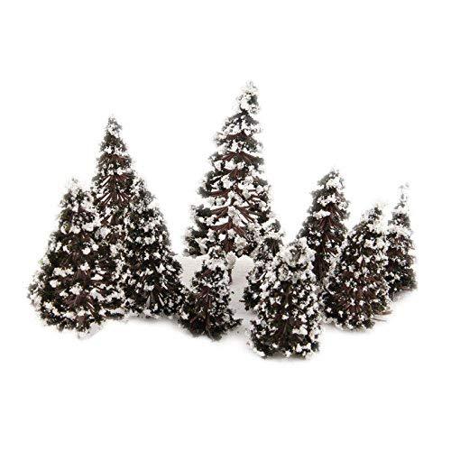 16Pcs Mixed Scale Model Cedar Trees w Snow Diorama Train Railway Winter Scenery Height 6/8/10/12cm Each 4Pcs