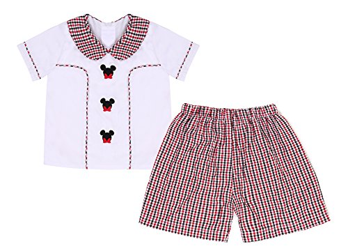 Babeeni Baby Boy Short Set With Lovely Mickey Mouse Machine Embroidery Patterns, White Knit T-Shirt and Red&Black Gingham Seersucker Pants For Holidays Occasion (3Y) (Clothes Smocked)