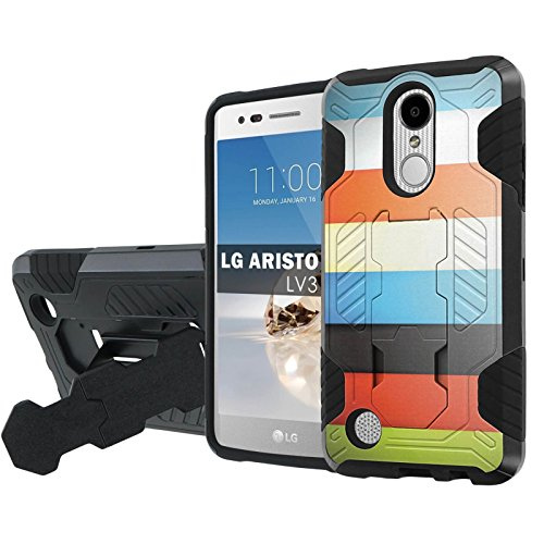Lg  Phoenix 3  Fortune  Aristo   Nakedshield   Black Black  Total Defense Armor Case  Kickstand   Holster     Color Bars  For Lg  Phoenix 3  Fortune  Aristo  5  Screen Guard