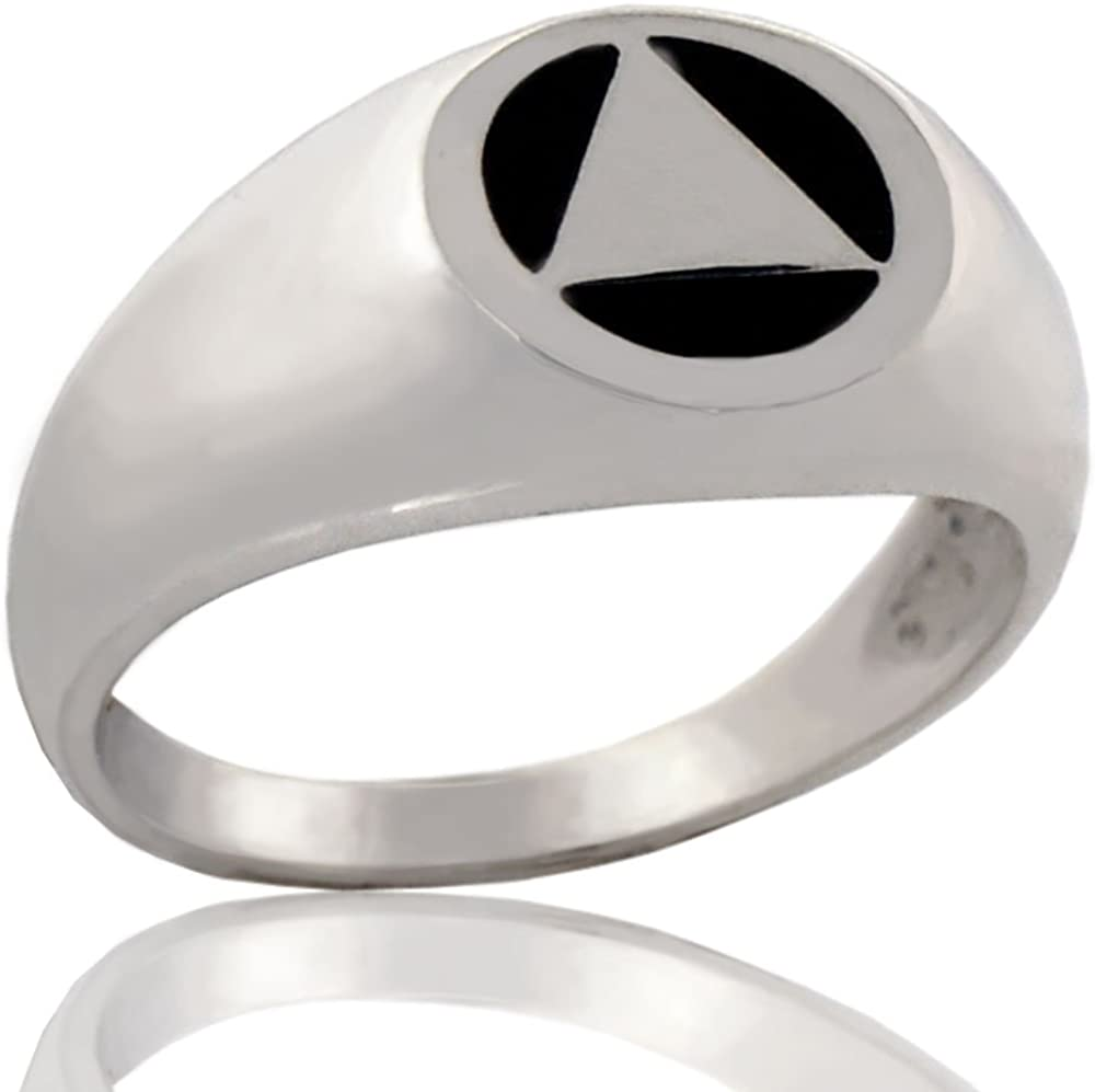 "12 Step Jewelry Alooholics Anonymous 925 Sterling Silver AA Unity Ring 3/8"" Tall (Approx) with Black Inlay"
