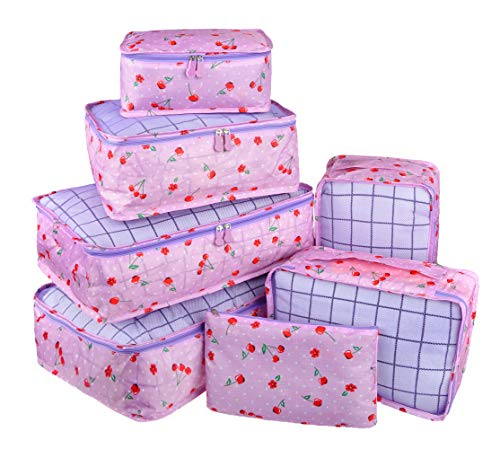 Vercord 7 Set Travel Packing Organizers Cubes Mesh Luggage Cloth Bag Cubes with Bra Underwear Cube and Shoe Pouch, Purple Cherry