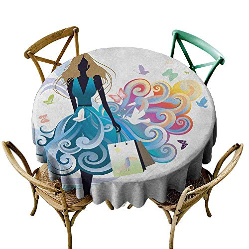 Sunnyhome Resistant Table Cover Contemporary Young Woman Silhouette with Shopping Bags Fantasy Skirt Butterflies Fashion Multicolor for Events Party Restaurant Dining Table Cover 70 INCH