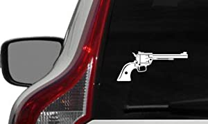 Gun Pistol Revolver Right Version 2 Car Vinyl Sticker Decal Bumper Sticker for Auto Cars Trucks Windshield Custom Walls Windows Ipad MacBook Laptop and More (White)