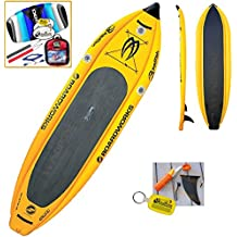 "2016 Boardworks Badfish MCIT 10-6 (10' 6"") Yellow Inflatable Stand Up Paddle Board SUP + Kite Bundle (5 Items) Incl: CX 1.5M Foil Kite + WindBone Kitesurf Lifestyle Decals + WBK Koozie + WBK Key Chain"