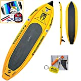 2016 Boardworks Badfish MCIT 10-6 (10' 6') Yellow Inflatable Stand Up Paddle Board SUP + Kite Bundle (5 Items) Incl: CX 1.5M Foil Kite + WindBone Kitesurf Lifestyle Decals + WBK Koozie + WBK Key Chain