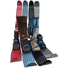 Team Magnus Kids Skis w/ Quality Buckled Straps - 65cm Plastic Mini Snow Skis to Build Cross Country & Downhill Technique in Back Yard or Ski Park - Fits Boots /Shoes Age 3 to Size 10