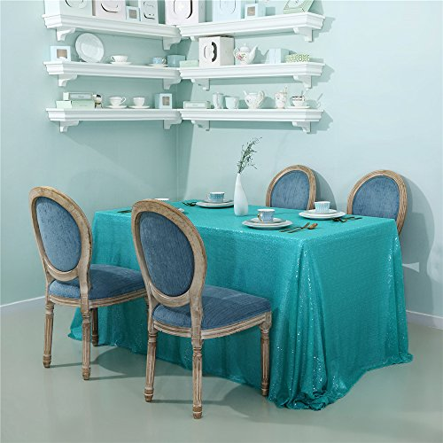Zdada Aqua Green Sequin Tablecloth For Wedding/Event/Party/Banquet (60''x105'')