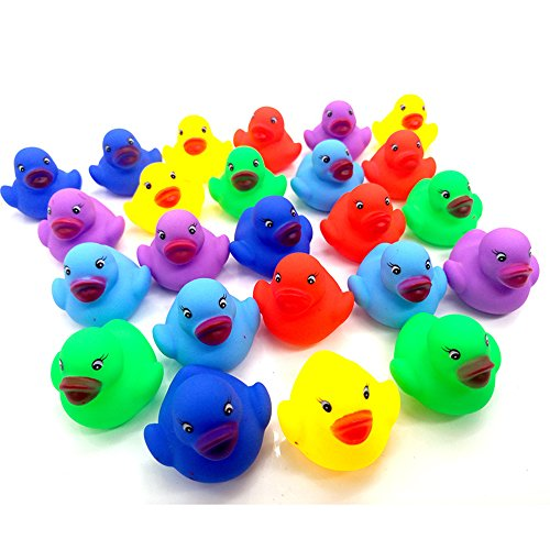 Max corner Mini Rubber Duck, Colored Ducks Bath Toys Shower Party Supplies for Child 12 Pcs Float Pool Small Decorations Tub Kids Bathtub -