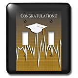 Beverly Turner Graduation Design - Medical Theme, Congratulations, Heart Beat Graph, Graduation, Cap, Gold - Light Switch Covers - double toggle switch (lsp_234545_2)