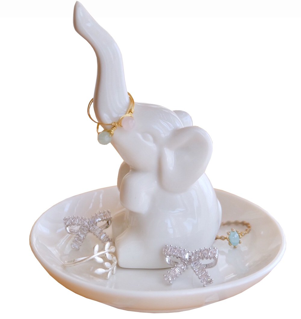 PUDDING CABIN Elephant Ring Holder Jewelry Tray for Wedding Christmas Birthday Gift,White
