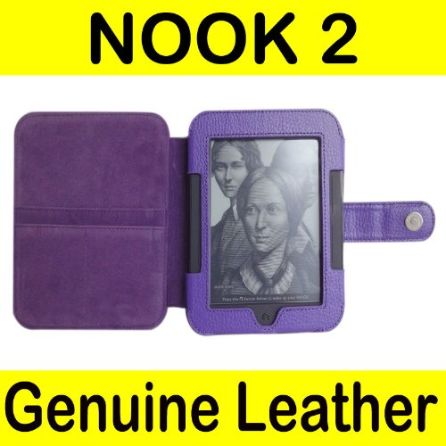 Mochie Barnes Noble Nook 2 2nd Edition Generation Simple Touch Genuine Leather Case Cover Purple (Nook Simple Touch Case)