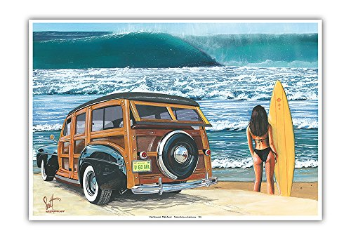 U Go Girl - Retro Woodie Car on Beach with Surfer Girl - from an Original Color Painting by Scott Westmoreland - Master Art Print - 13 x 19in (Girl Poster Surfer)