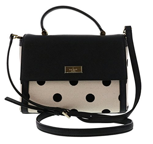 Kate Spade New York Bixby Place Fabric Brynlee Convertible Shoulder Bag Satchel (Black/Natural Dot) by Kate Spade New York