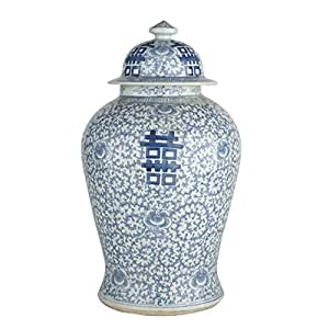 Beautiful Oriental Blue and White Porcelain Double Happiness Temple Jar 20""