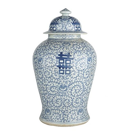 Beautiful Oriental Blue and White Porcelain Double Happiness Temple Jar 20'' by Legend of Asia