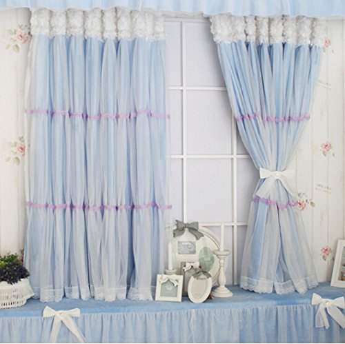 YOUSA Fairy Kids Blackout Grommet Window Curtain for Living Room Korean Window Treatment (2-Panel/52''W by 84''L/Blue) by YOUSA