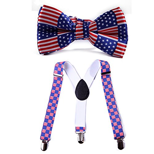 HDE Adjustable Suspenders Matching Bowtie