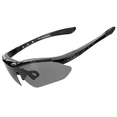 d703d7b25c RockBros Polarized Sports Sunglasses UV Protection Cycling Glasses for Men  Women Outdoor Running Driving Fishing Golfing Black  Amazon.co.uk  Clothing