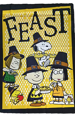 (PEANUTS SNOOPY THANKSGIVING FEAST FLAG~SIZE 28