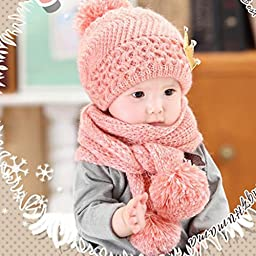 Mikey Store Cute Winter Baby Kids Girls Boys Warm Woolen Coif Hood Scarf Caps Hats (Pink)