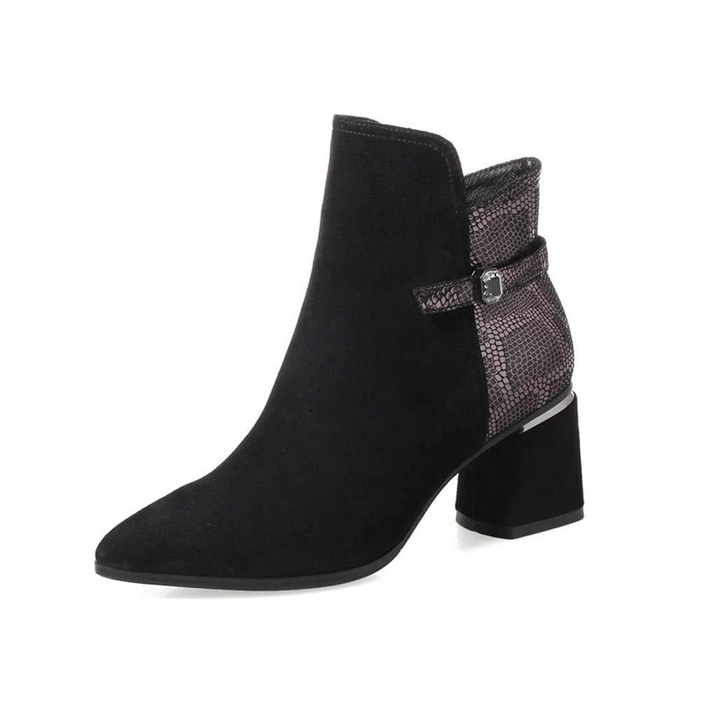 女性のブーツ、2019年秋冬ファッション靴ブーツ/マーチンブーツドレスシューズ,黒,39 黒