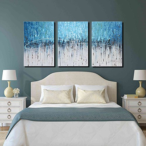 ARTLAND Hand-painted 24x48-inch 'Ice Forest' 3-piece Gallery-wrapped Abstract Oil Painting on Canvas Wall Art Set (Hand Painted Ice)