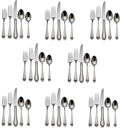 Reed & Barton Hammered Antique 18/10 Stainless Steel - 40 Piece Set (Service for Eight) -