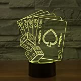3D Poker Night Light USB Touch Switch Decor Table Desk Optical Illusion Lamps 7 Color Changing Lights LED Table Lamp Xmas Home Love Brithday Children Kids Decor Toy Gift