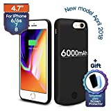iPhone 6 (s)/7/8 Backup Battery Charger Protective Case 6000mAh, Almost 230% Extra Juice, Fast-charging Power Bank. Light and Slim + Gift: Glass Screen Protector