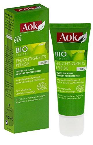2 x AOK BIO Expert Feuchtigkeitspflege Fluid je 50ml / glattere, ebenmäßige Haut auf natürliche Weise