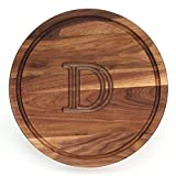 BigWood Boards W110-D Cutting Board, Monogrammed Cutting Board, Medium Round Cheese Board, Thick Walnut Wood Serving Tray, ''D''