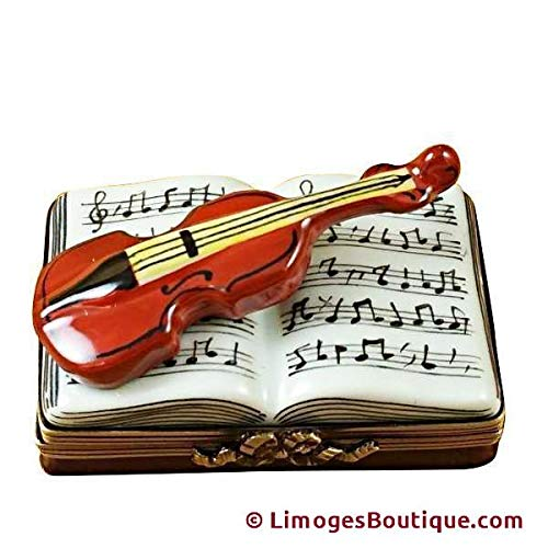 (MUSIC BOOK W/VIOLIN - LIMOGES PORCELAIN FIGURINE BOXES AUTHENTIC IMPORTS)