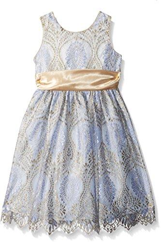 Jayne Copeland - Cenefa de Encaje para niña con Vestido de satén, Peri/Dorado, 12
