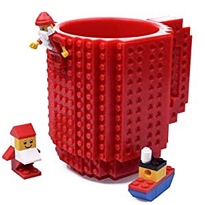 KYONNE Build-on Brick Mug, Lego Style Coffee Cup, Unique Back to School Gifts for Boy and Girl (Red)