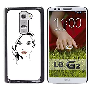 GOODTHINGS Funda Imagen Diseño Carcasa Tapa Trasera Negro Cover Skin Case para LG G2 D800 D802 D802TA D803 VS980 LS980 - labios hermosos mujer niña negro blanco