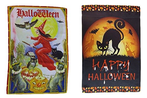 ALBATROS 12 inch x 18 inch Happy Halloween #14 Vertical Sleeve Flag for Garden for Home and Parades, Official Party, All Weather Indoors Outdoors]()