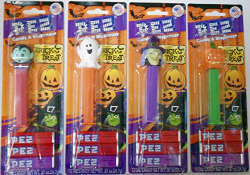Bundle of 4 Halloween Pez: Witch & Pumpkin & Vampire Bat & Ghost on Blister Cards With 3 Rolls of Candy Each