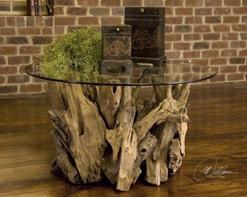 36' Round Glass Top Table - Driftwood Coffee Table