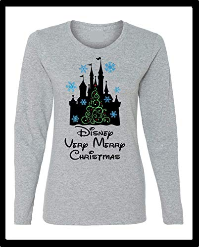 (A Very Merry Disney Christmas Castle Christmas Tree Snowflakes Glitter Long or Short Sleeve/Regular and Plus Sizes)