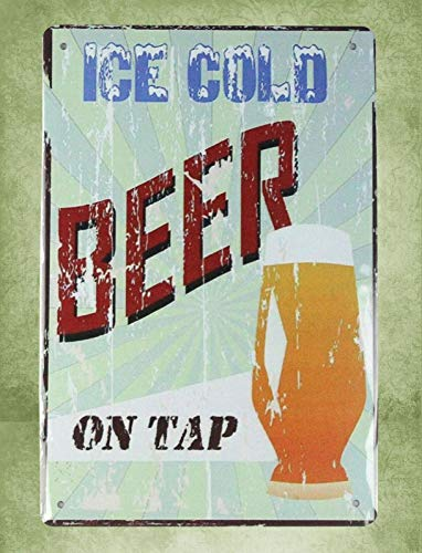 QDTrade Metal Sign 16 x 12inch - Ice Cold Beer on tap bar Pub Vintage Look tin Sign Wall Decoration Bar Cafe Home Decor Metal Wall Art Designs (Tap Decor Beer)