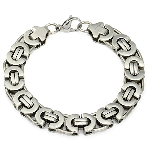 Trendsmax 11mm Mens Chain Flat Byzantine Silver Tone Stainless Steel Bracelet 8 inch