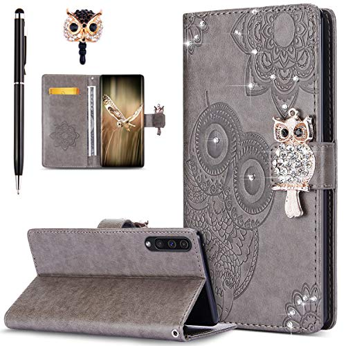 Price comparison product image ikasus Case for Galaxy A50 Cover, Bling Diamonds Glitter Embossing Mandala Owl PU Leather Fold Wallet Flip Stand Protective Case Cover + Dust Plug & Stylus for Galaxy A50 Wallet Case, Gray