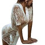 Jushye Clearance Transparent Sleepwear,Fashion Sexy Gown Lace Babydoll Lingerie Nightwear (White, L)