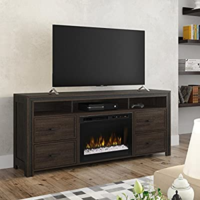 DIMPLEX Electric Fireplace, TV Stand, Media Console, Space Heater and Entertainment Center with Glass Ember Bed Set in Grainery Brown Finish - Thom #GDS26G8-1843GB