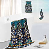 Auraise Home Luxury Bath Towel Set Arabic Floral Seamless Border Traditional Islamic Design Mosque decoration element. Soft, Plush and Highly Absorbent 13.8''x13.8''-11.8''x27.6''-27.6''x55.2''