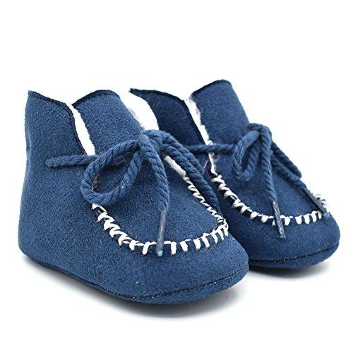 ESHOO niños invierno cálido ajustables zapatos Bebé Kids Casual antideslizante botas marrón marrón Talla:12-18 meses azul oscuro