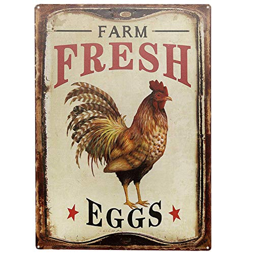 SIGNT Outdoor Chicken Sign Farm Fresh Organic Eggs Metal Wall Decor Retro Vintage Metal Tin Signs Rustic Farmhouse Country Wall Art Sign 8