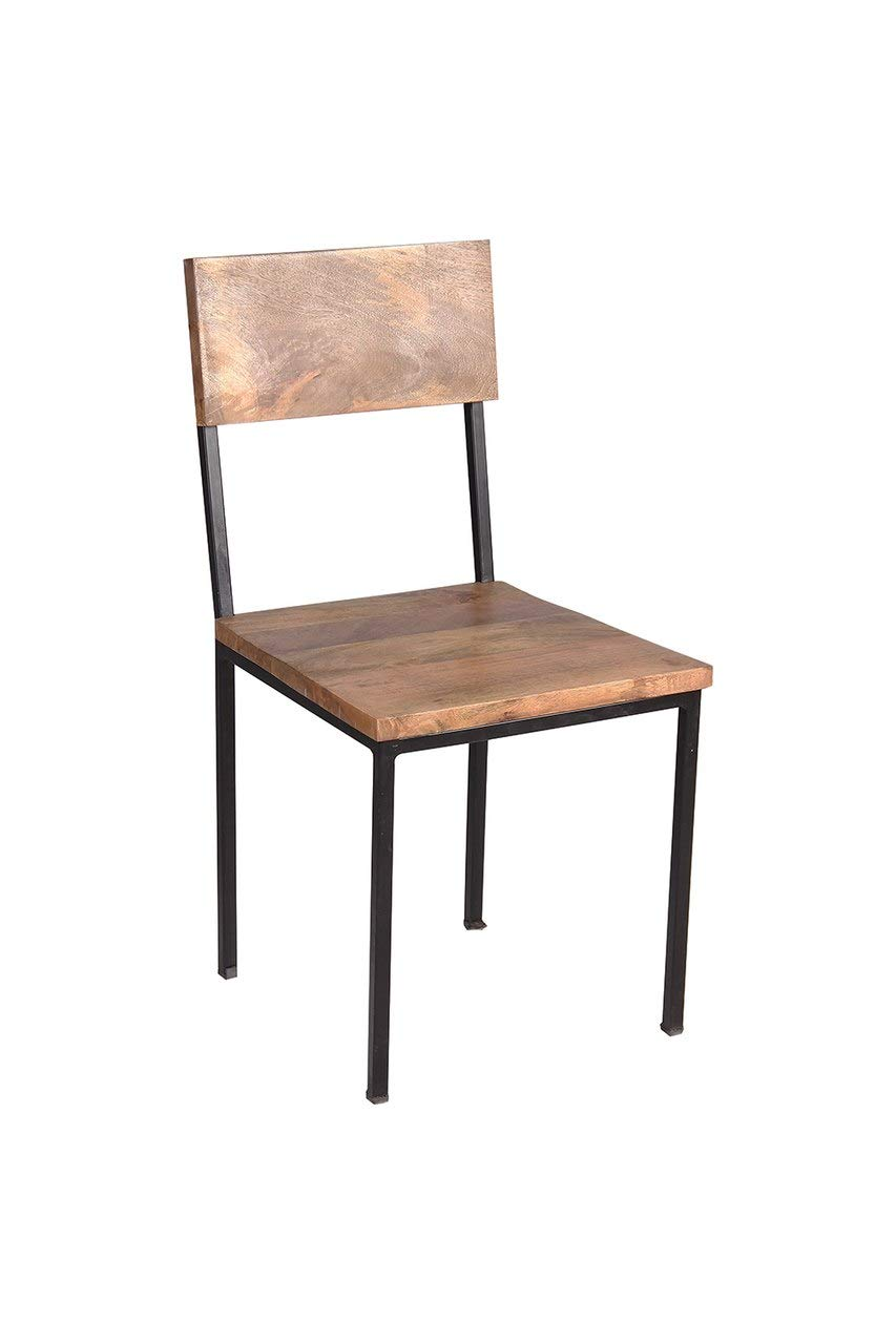 Timbergirl Reclaimed Wood and Metal Set of 2 Chairs, Brown
