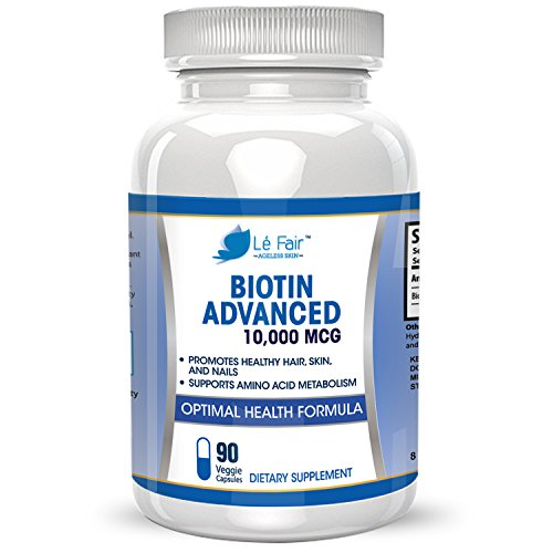 Biotin Vegan Veggie Capsule Adjunct - High-Potency Biotin 10,000mcg Per Capsule - Supports Hair Growth, Complexion, Acne, Stiff Nails and Eyelashes - 90-Day Supply, GMP Compliant, Made In USA…