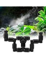 "Aspersor de niebla Fogger de reptiles, sistema de nebulización de reptiles de cabeza doble 360 ° ajustable para tanque de selva tropical / flores de plantas de anfibios, conexión para bañera de 1/4 """
